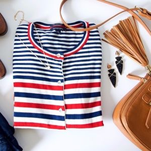 Lands' End Red, White, & Blue Striped Cardigan